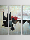 Hand Painted Oil Painting Abstract Glass of Wine with Stretched Frame Set of 3