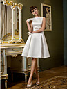 Lan Ting A-line Wedding Dress - Ivory Knee-length Bateau Satin