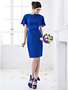 Knee-length Chiffon Bridesmaid Dress - Royal Blue Plus Sizes / Petite Sheath/Column Jewel