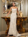 Lan Ting Sheath/Column Wedding Dress - Ivory Sweep/Brush Train Spaghetti Straps Satin/Lace