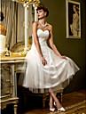 Lanting noiva uma linha petite / mais tamanhos vestir-cha de comprimento casamento querido tule