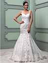 Trumpet/Mermaid Wedding Dress - Ivory Sweep/Brush Train Spaghetti Straps Organza