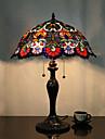 Fleur Lampe de table Motif, 2 Light, Tiffany alliage de zinc Peinture sur verre