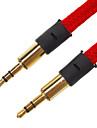 3.5mm mâle à mâle câble audio plat Type de tissu rouge (1,5 M)