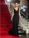 TS Couture Formal Evening / Military Ball Dress - Black Plus Sizes / Petite Sheath/Column V-neck Sweep/Brush Train Jersey