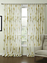 Country Two Panels Floral  Botanical Green Bedroom Polyester Panel Curtains Drapes