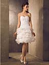 A-line/Princess Plus Sizes Wedding Dress - Ivory Knee-length Sweetheart Lace/Organza