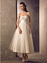 Lan Ting A-line Plus Sizes Wedding Dress - Ivory Tea-length Strapless Tulle/Taffeta