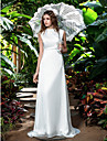 Sheath/Column Plus Sizes Wedding Dress - Ivory Sweep/Brush Train Bateau Chiffon