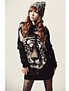 tigre stampa pullover batwing maglieria femminile lungo maglione