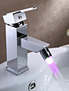 Contemporain Set de centre LED with  Valve en ceramique Mitigeur un trou for  Chrome , Robinet lavabo