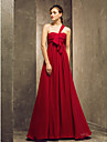 Bridesmaid Dress Floor Length Chiffon Sheath Column One Shoulder Dress (551452)