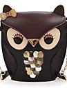 Kvinnors Lady Skarvning Color Cross Body Bag Owl Pattern