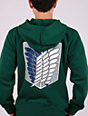 Inspired by Attack on Titan Mikasa Ackermann Anime Cosplay Costumes Cosplay Hoodies Print Green Long Sleeve Coat
