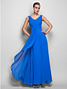Formal Evening/Military Ball Dress - Ocean Blue Plus Sizes Sheath/Column V-neck Floor-length Georgette