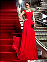 Formal Evening/Military Ball Dress - Ruby Plus Sizes Sheath/Column Square Sweep/Brush Train Chiffon