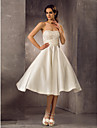 Lanting Bride A-line Petite / Plus Sizes Wedding Dress-Tea-length Strapless Lace / Satin