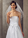 Two-tier Elbow Wedding Veil With Beadings