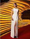 Military Ball/Formal Evening Dress - Ivory Plus Sizes Sheath/Column Jewel Floor-length Chiffon/Jersey