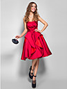 Homecoming Cocktail Party/Holiday/Homecoming Dress - Burgundy Plus Sizes A-line Strapless Knee-length Satin