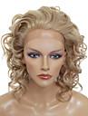 Lace Front Snygg Mellanlångt Curly värmebeständig syntetisk peruk (Blonde)