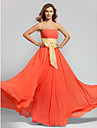Lanting Bride Floor-length Chiffon Bridesmaid Dress A-line Strapless Plus Size / Petite with Sash / Ribbon