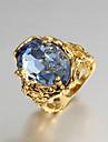 Inele Afirmatoare Inel de logodna Iubire bijuterii de lux Zirconiu Cubic Placat Auriu 18K de aur Bijuterii Albastru Bijuterii PentruNuntă