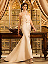 Lan Ting Trumpet/Mermaid Plus Sizes Wedding Dress - Champagne Sweep/Brush Train Strapless Satin