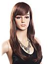 Haute Qualite 20% de cheveux humains et 80% resistant a la chaleur cheveux de fibre capless longue perruque ondulee (Dark Brown)