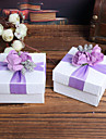 White Square Favor Boxes With Purple Flower Top - Set of 12