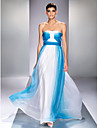 Formal Evening/Prom/Military Ball Dress - Ocean Blue Plus Sizes A-line Strapless Floor-length Chiffon