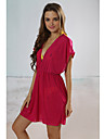 Women\'s Solid Beach Cover-up Mini Dress