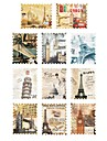 1PCS (Ingår 11-Mönster för Berömd plats) vykort Sery Water Transfer Print Nail Art Sticker för manikyr