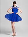 Vestido de Dama de Honor - Azul Real Corte A/Corte Princesa Escote Joya - Corto Encaje Tallas grandes