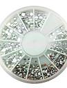 MiXs Storlek Akryl Silver White Diamond nagel konst Dekorationer
