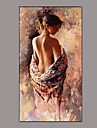 Peint a la main Personnage Nu Verticale,Classique Traditionnel Un Panneau Toile Peinture a l\'huile Hang-peint For Decoration d\'interieur