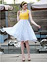 Ts vintage Contrast Kleur Grid Swing Dress
