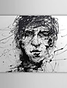 iarts®hand målad oljemålning folk skiss av mannens huvud svart och vitt med sträckt ram