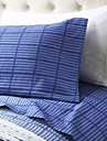 "Sheet Set ,4-Piece Microfiber Stripe Dark Blue med 12 ""Fickdjup"