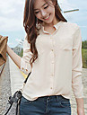 Women\'s Casual Stand Collar Long Sleeve Pocket Shirt Blouse
