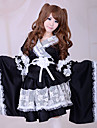 Japanese Style Long Sleeve Knee-length Black Satin Wa Lolita Kimono Outfit