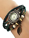 Women's Watch Bohemian Leaf Pendent Leather Weave Bracelet Cool Watches Unique Watches