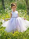 Ball Gown Floor-length Flower Girl Dress - Satin/Tulle Sleeveless