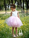 ball kappe grime knelang sateng og tyll tutu kjole / flower girl dress