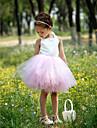 무도 회복 고삐 무릎 길이 새틴 얇은 명주 그물 발레 용 스커트 복장 / 꽃 파는 소녀 드레스