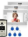 "7 ""lcd porte video porte sonnette mains libres entree a domicile interphone rfid reader 3 moniteurs"