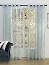 land två paneler blom- botaniska blå sovrum polyester skira gardiner nyanser