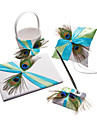 Satin Wedding Collection Set With Feather(4 Pieces) Peacock Wedding