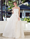 A-line Plus Sizes Wedding Dress - Ivory Floor-length Strapless Chiffon/Charmeuse/Stretch Satin