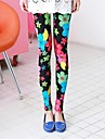 Women\'s Fashion Candy Color Floral Pattern Slim Leggings